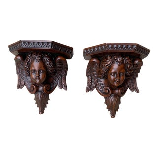 Vintage Carved Mahogany Shelf Sconces With Cupids - a Pair For Sale