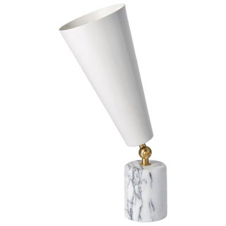 Tato Italia Vox Satin Brass and White Carrara Marble Table Lamp