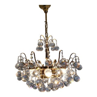 Final Markdown Palwa Mid-Century Crystal Prism Drop Chandelier