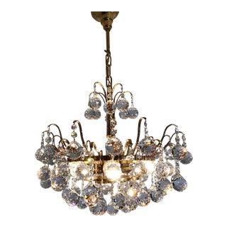 Palwa Mid-Century Crystal Prism Drop Chandelier