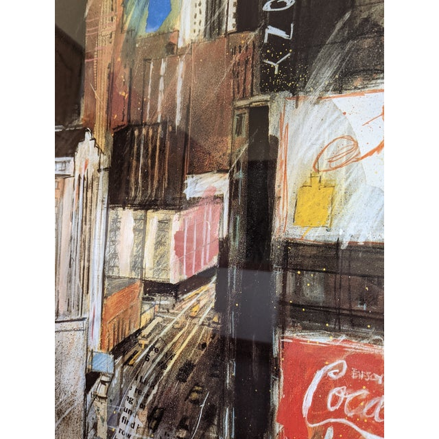 """1980s """"Times Square"""" Cityscape Lithograph, Framed For Sale In Columbus - Image 6 of 12"""