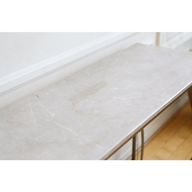 Contemporary Modern Geometric Gold Iron White Marble Console Table For Sale - Image 3 of 7