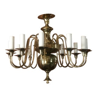 Vintage Mexican Brass Chandelier For Sale