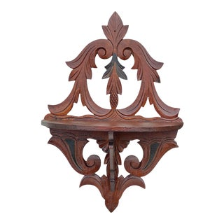 Antique Victorian Carved Walnut Folding Wall Shelf For Sale