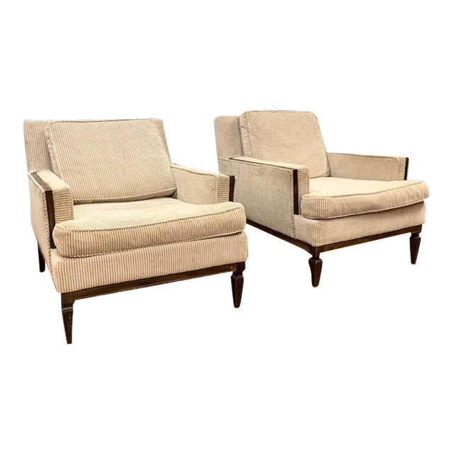 Pair, Mid Century Club Chairs on Beige For Sale