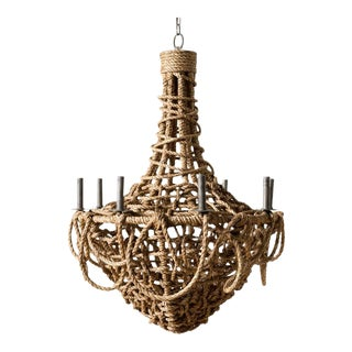 Organic Modern Laszlo Woven Abaca 8 Light Chandelier For Sale