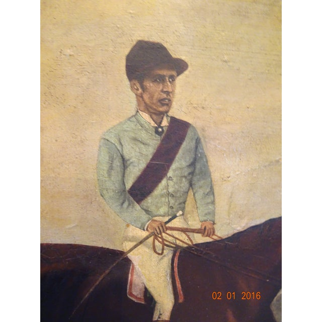 Figurative Jockey on Race Horse Painting For Sale - Image 3 of 11