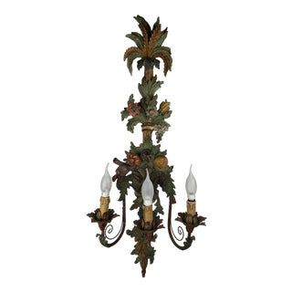 Large Italian Three Arm Hand Carved Wooden Sconce or Wall Light For Sale