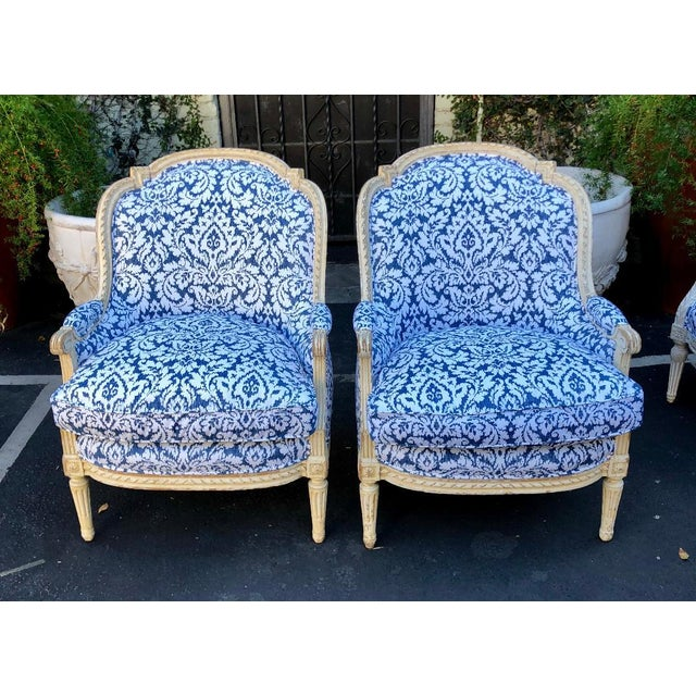Pair of Antique French Louis XV Style Bergere Chairs W Blue & White Damask For Sale In Los Angeles - Image 6 of 6