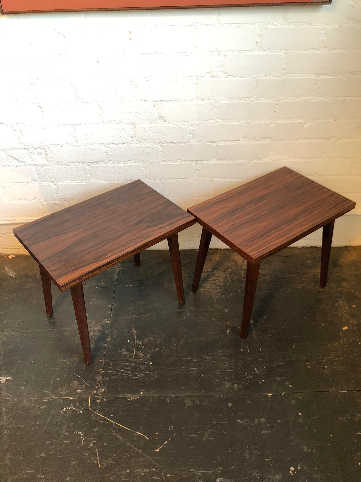 Gorgeous Pair Of Mid Century Brazilian Rosewood Side Tables. A Simple,  Elegant Design That
