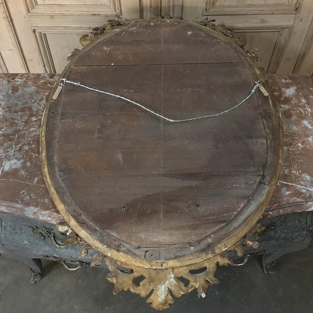 Gilded Mirror, 19th Century French Louis XVI Oval For Sale - Image 11 of 12