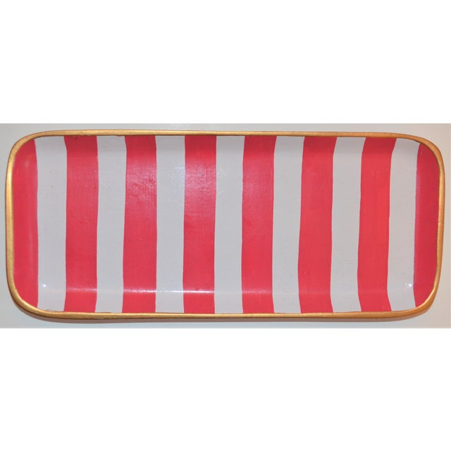 Boho Chic Dana Gibson Melon and White Striped Trinket Tray For Sale - Image 3 of 13