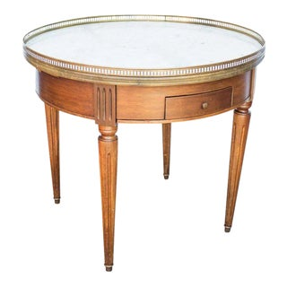 Mahogany Bouillotte Style Marble Top Table