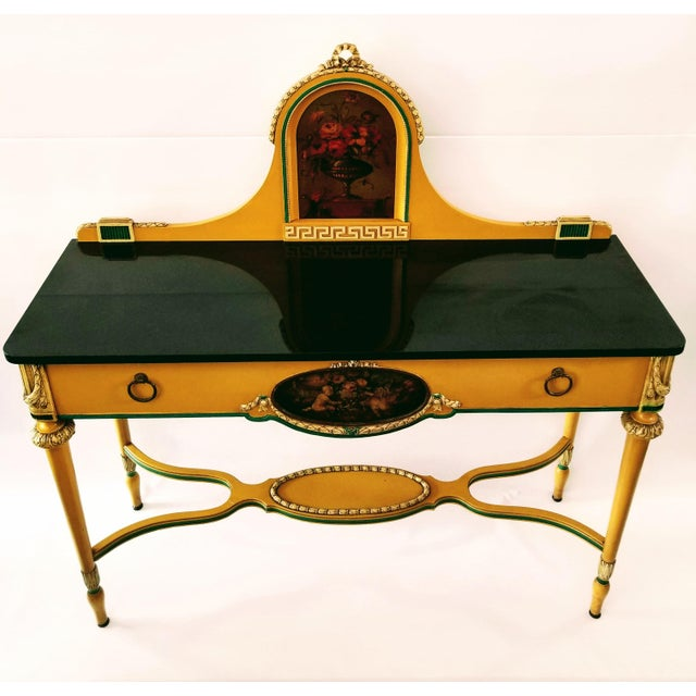 Luce Furniture Company Louis XVI Black Marble Top Painted Sideboard For Sale - Image 13 of 13
