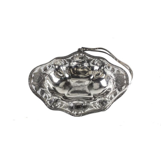 Early 20th Century 1910 Antique Gorham Sterling Silver Brides Basket Pierced Armorial Crest #1166l For Sale - Image 5 of 9