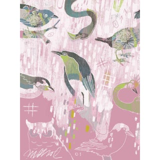 "Pink Birds, Giclee Print, 11x15"" For Sale"