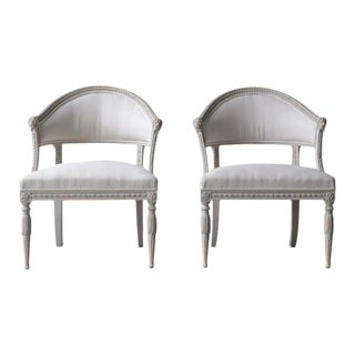 Swedish Gustavian Style Barrel Back Armchairs with Lions' Heads - a Pair For Sale