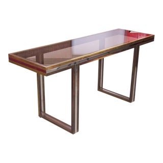 XXL Romeo Rega Brass and Chrome Console Table For Sale