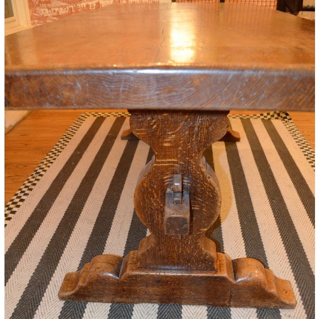 Brown French Country Trestle Farm Table For Sale - Image 8 of 10