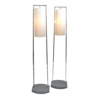Original Modern Van Teal Chrome & Stone Floor Lamps Fabric Cone Shades, Pair For Sale