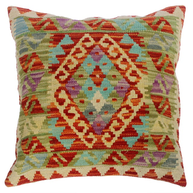 """Chloe Ivory/Rust Hand-Woven Kilim Throw Pillow(18""""x18"""") For Sale In New York - Image 6 of 6"""