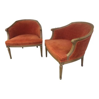 20th Century Hollywood Regency Upholstered Salmon Arm Chairs - a Pair