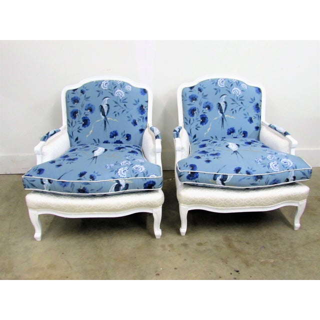 Elegant Pair of French Mahogany Bergère Armchairs in White Lacquer and Designers Guild Jacaranda-Indigo 100% Silk fabric...