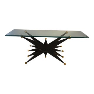 SPECTACULAR ITALIAN BRUTALIST STARBURST AND GOLD BALL RESIN CONSOLE TABLE For Sale