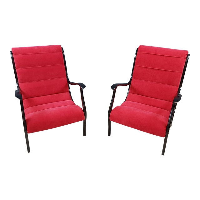Italian Mid-Century Modern Lounge Armchairs by Ezio Longhi, 1950s Reupholstered - a Pair For Sale