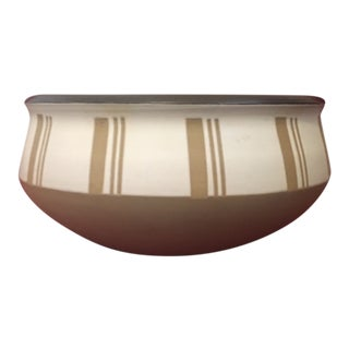 "Mid Century Modern Denby Studio Stoneware 7"" Serving Bowl, Gray Stoneware With Brown Stripes, Made in England For Sale"