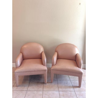 Glam Hollywood Regency Custom 1980's Pearlescent Blush Leather Chairs - a Pair Preview