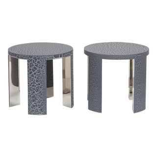 The Circular Crackle Side Tables by Talisman Bespoke (Charcoal and Silver) For Sale