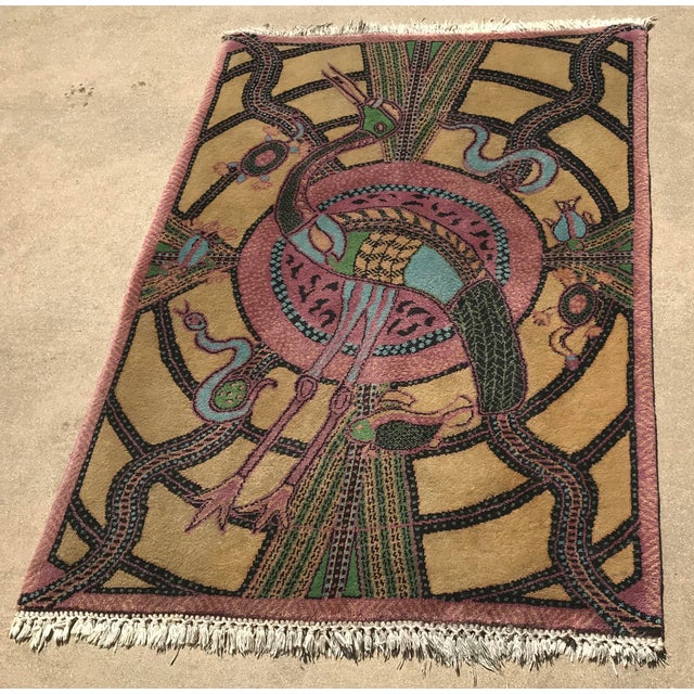 Vintage Hand Knotted Persian Animal Rug- 3′ × 4′6″ For Sale - Image 4 of 10