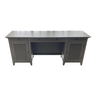 Restoration Hardware Shutter Grey Executive Desk For Sale