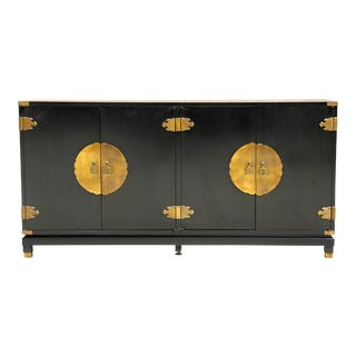 Black Lacquer Sideboard With Brass Hardware Sideboard/Buffet