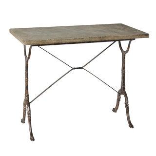 Belgian Bistro Table W/ Cast Iron Base & Blue Stone Top Circa 1905