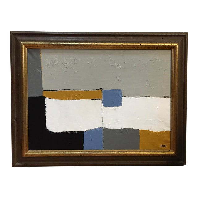 Vintage Mid Century Abstract Cubist Minimalist Painting For Sale