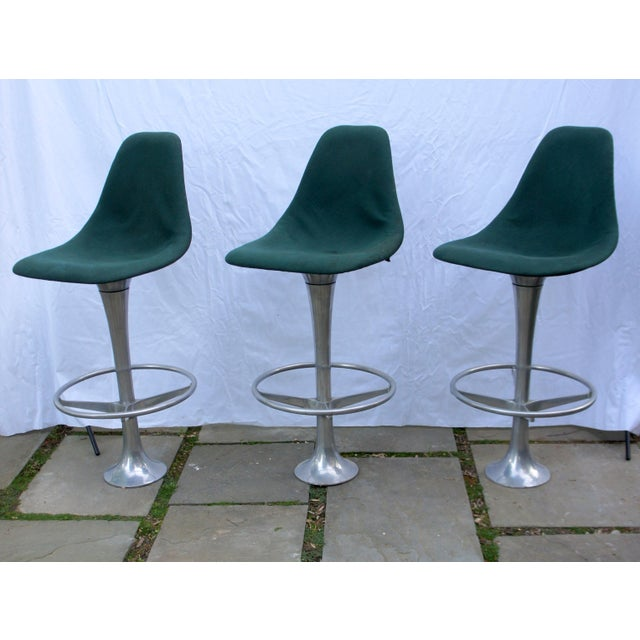 Charles Eames Mid-Century Modern Green Floor Anchored Bar Stools - Set of 5 For Sale - Image 4 of 12