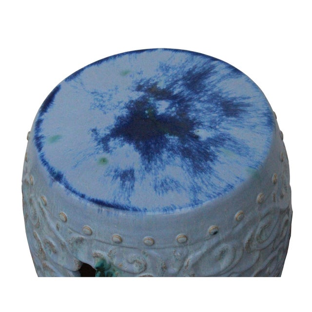 Ceramic Clay Light Blue Glaze Round Scroll Pattern Garden Stool For Sale In San Francisco - Image 6 of 8