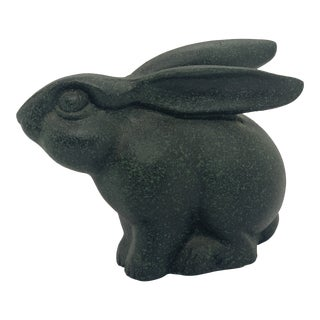1980's Brutalist Bronze Rabbit With a Greenish Black Finish For Sale