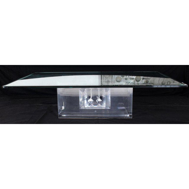 Large Rectangular Glass Top Thick Stack Lucite Blades Base Coffee Table For Sale - Image 4 of 12