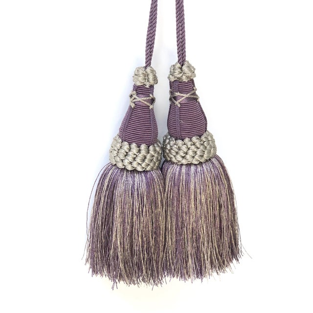 Key Tassels in Amethyst and Gray With Ruche Trim - a Pair For Sale - Image 4 of 12