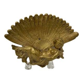 1970s Vintage Bronze Goddess Trinket Dish For Sale