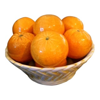 Italian Ceramic Lattice Bowl of Oranges Table Centerpiece For Sale