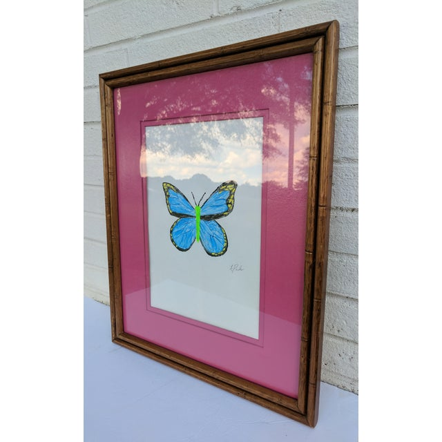 2010s Original Acrylic Butterfly Painting Signed and Framed For Sale - Image 5 of 13