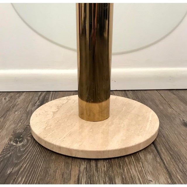 1970s Pace Collection Italian Marble, Brass and Glass Side Table For Sale - Image 5 of 5