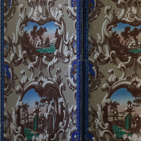 Late 19th C. French Wallpaper Screens For Sale - Image 4 of 6