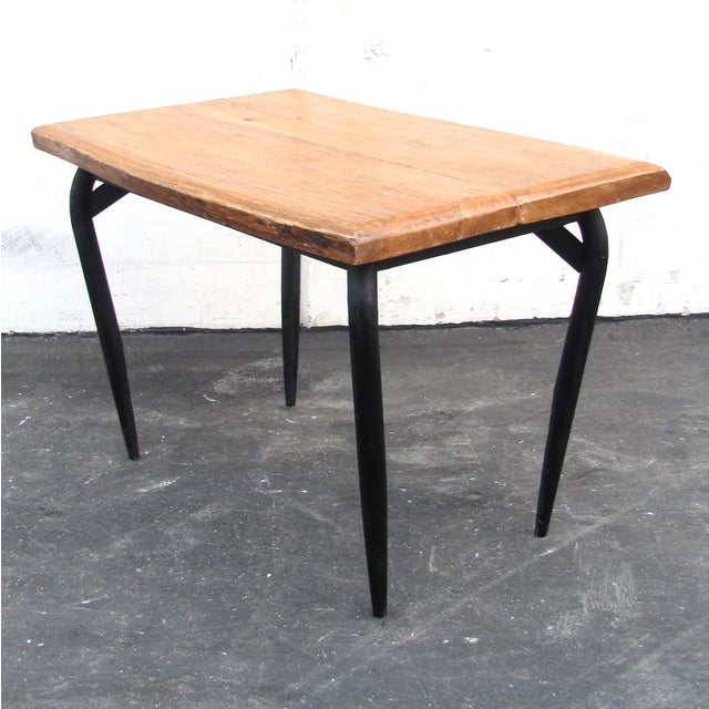 Natural Wooden Slab Table with Black Steel Base For Sale - Image 5 of 6