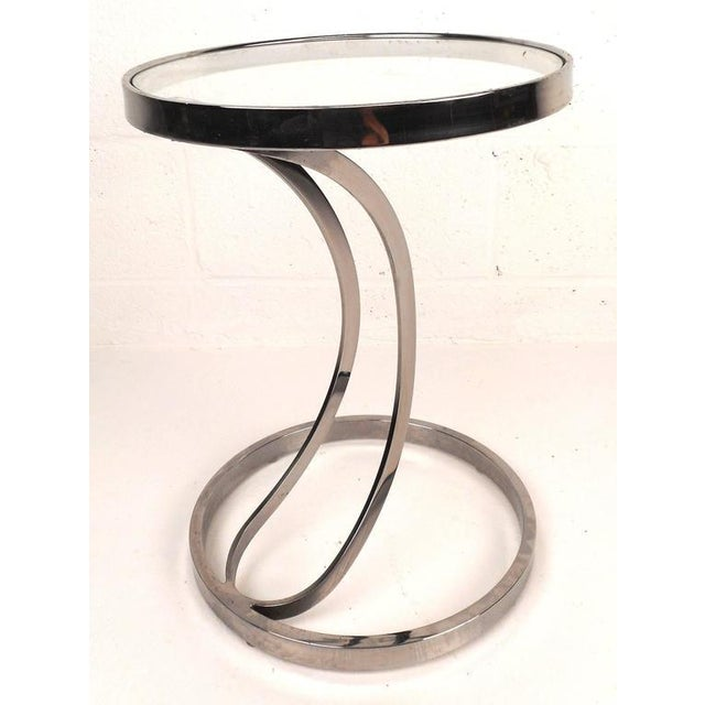 Contemporary Modern Circular Chrome and Glass End Table - Image 2 of 6