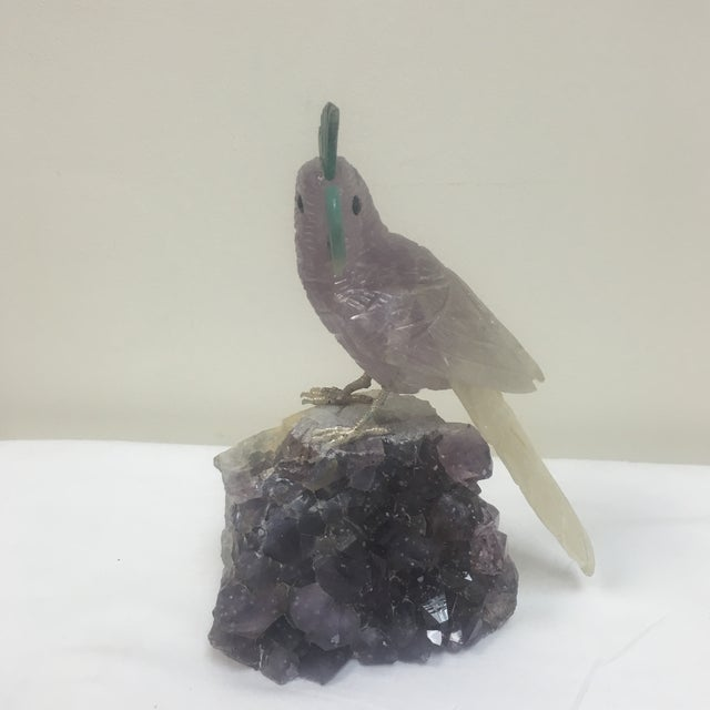 Amethyst Carved Bird Figurine on Stone Stand - Image 2 of 5